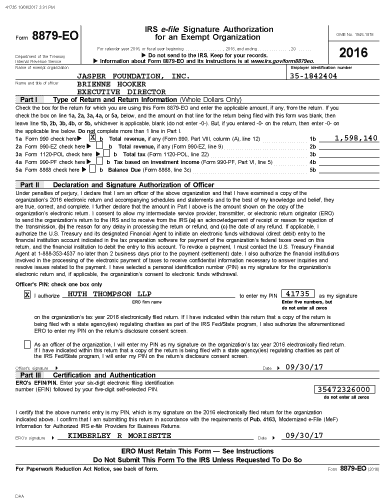 Jasper Foundation 2015 Form 990