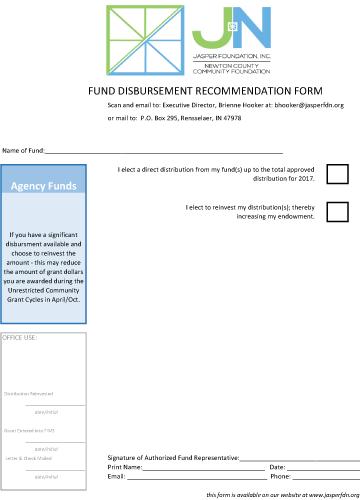 Agency Fund Disbursement Form 2017