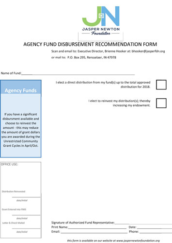 Agency Fund Disbursement Form 2017