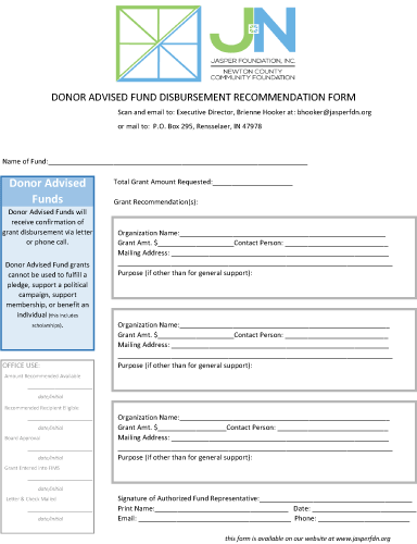 Donar Advised Fund Disbursement Form 2017