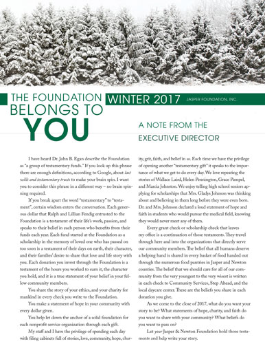 Jasper Foundation 2016 November Newsletter