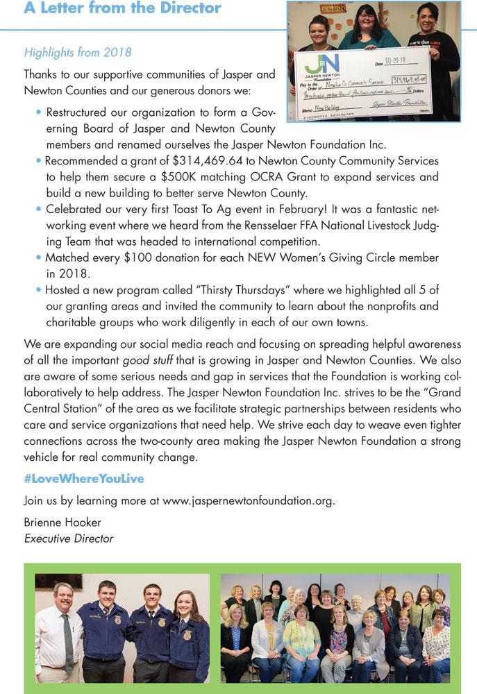 Jasper Newton Foundation 2018 Annual Report Page 2