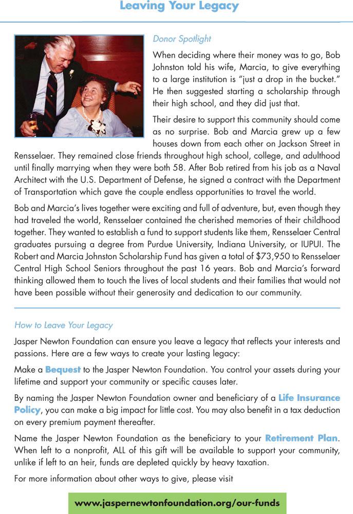 Jasper Newton Foundation 2018 Annual Report Page 4